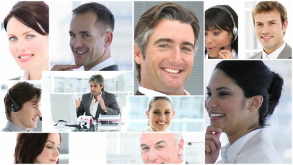 collage of women and men portraits in business