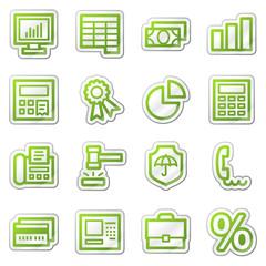 Finance web icons set 1, green sticker series