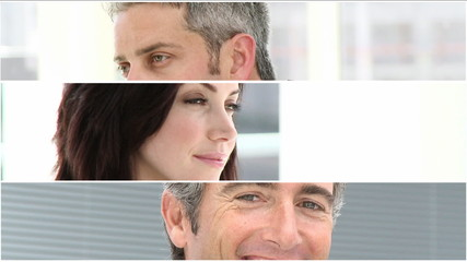 montage with three business people portrait