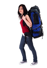 young female tourist with backpack