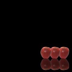 tre mele con sfondo nero