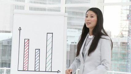 asian businesswoman showing graphs on blackboard