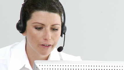assertive businesswoman working in a call center