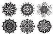 Ensemble de Mandalas Fleurs / Nature / Energie Noir et Blanc