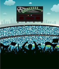 Soccer Fans and Scoreboard 2