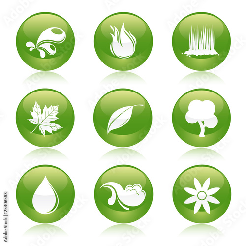 nature elements glossy icons