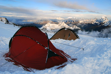 winter tents camp in mountains