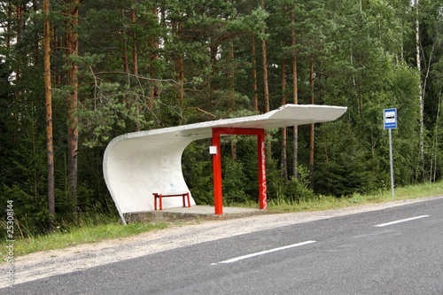Bus Stop with Bench in Estonia