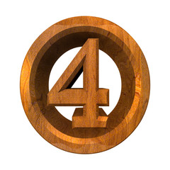 3d number 4 in wood