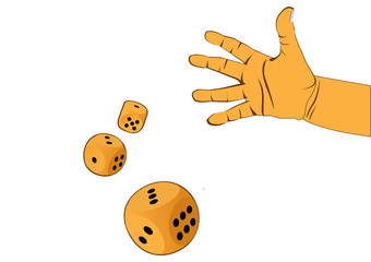 hand and three wooden dices - illustration