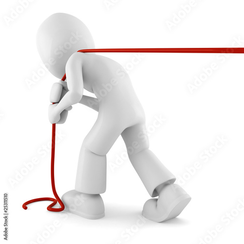 3d man pulling a rope, isolated on white