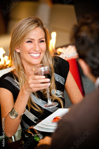 Woman in a romantic dinner