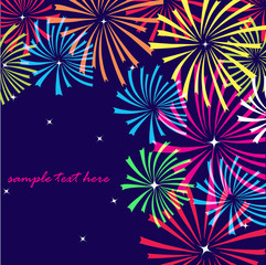 Xmas fireworks on the dark sky. Vector illustration