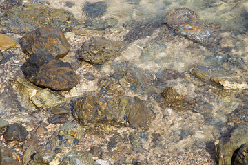 Colourful rocks in clear sea water
