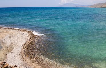 Fisheye view of clear blue sea