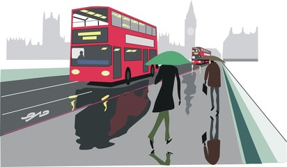 Double decker red bus illustration