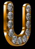 Golden U letter incrusted with diamonds