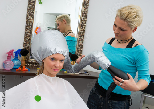 woman with soft bonnet hair dryer