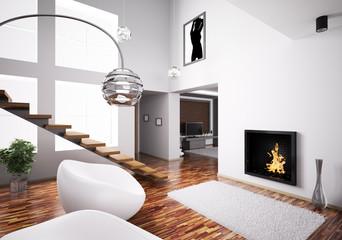 Interior mit kamin und treppe 3d