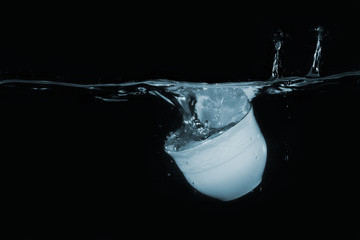 Coffee cup dropped into water