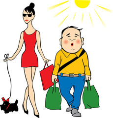 Vector man and woman shoping