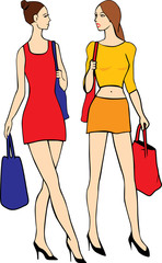 Vector of two shoping girl