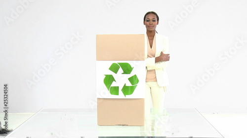 Ambitious business team presenting the concept of recycling