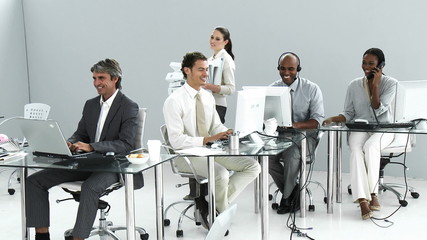 Presentation of a diverse business team at work