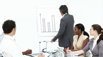 business team studying figures on a blackboard
