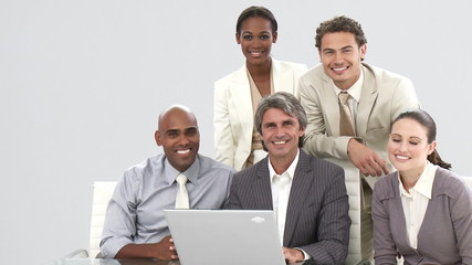presentation of a business team working with a computer