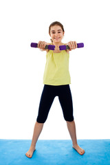 Active girl exercising isolated on white background