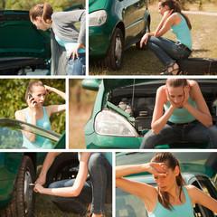 car breakdown collage