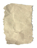Textured recycled paper on white background