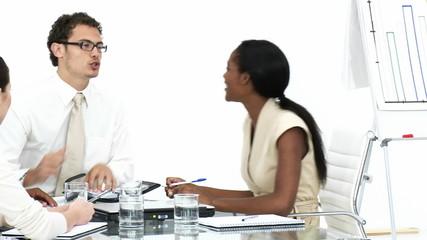 multi ethnic businessteam having a brainstorming