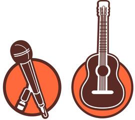 Piktogramm Mikrophon und Gitarre