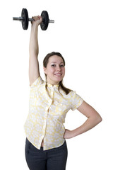 Young beautiful woman exercising with weights