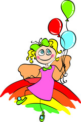 fairy with balloon on rainbow