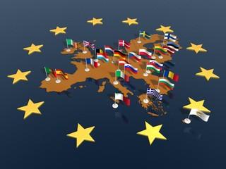 Europa mappa bandiere stelle orizz