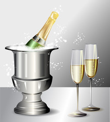 Ice champagne bottle with two glasses, vector illustration