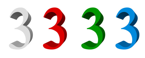 3D digits : 3 (three)