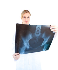 Concentrated female doctor looking at a x-ray