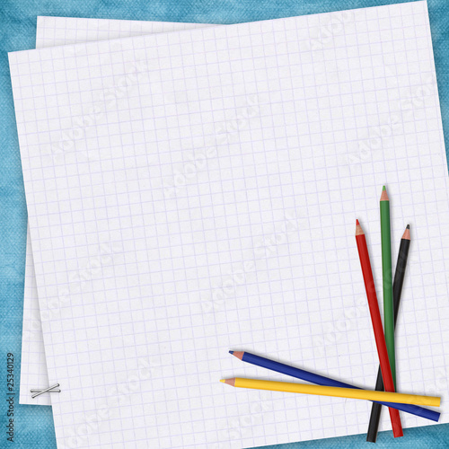 School card with paper and pencils on the abstract background