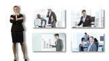 businesswoman presenting four footages of businessmen