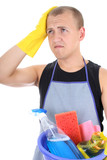 tired man in apron with cleaning supplies poster