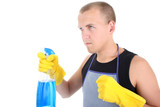man in apron with cleaning supplies poster
