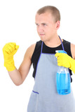 man in apron posing with cleaning supplies poster