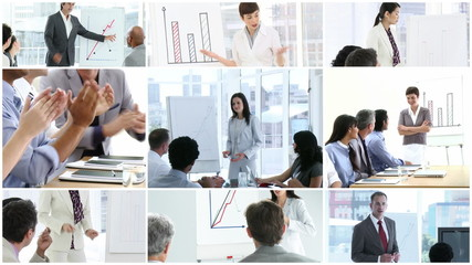 collage showing business presentations