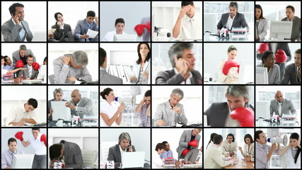 collage of businesspeople wearing boxing gloves