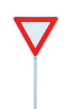 Give way priority yield road traffic roadsign sign isolated poster