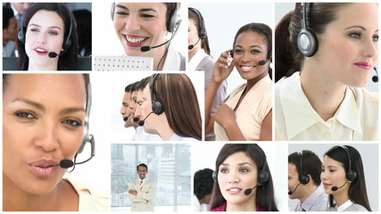 montage of women in call-center